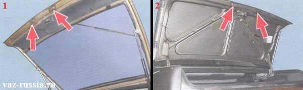 Стрелками указано местонахождение плафонов освещения номерного знака на автомобилях с разным кузовом