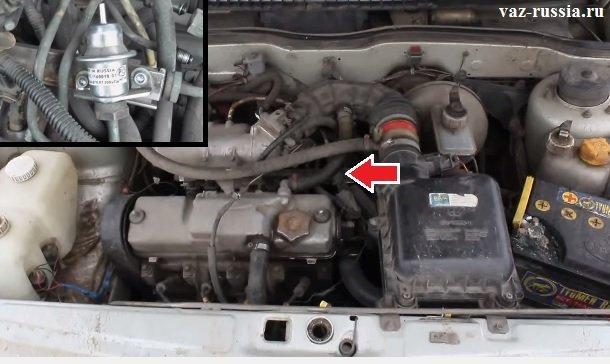 Стрелкой указано местонахождение регулятора давления в инжекторном автомобиле
