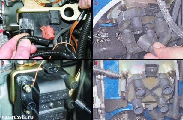 Отсоединение колодки проводов и высоковольтных проводов от модуля зажигания и его снятие