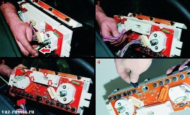 Снятие комбинации приборов с панели и отсоединение от неё колодок проводов и троса от спидометра, а так же выворачивание ламп подсветки