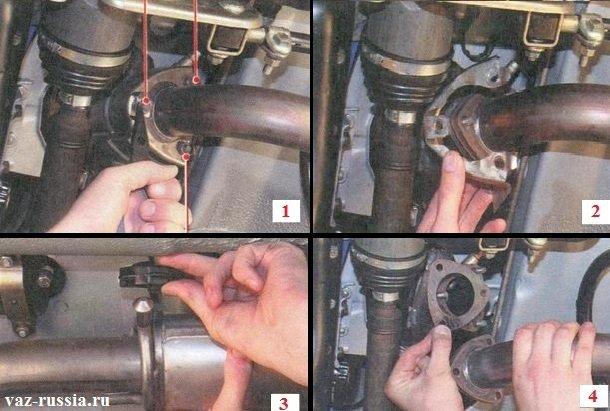 Отсоединение приёмной трубы от выпускного коллектора и снятие находящейся между ними прокладки