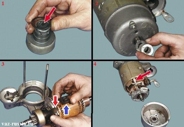 Смазка шлицов муфты и регулировка осевого зазор у вала якоря, а так же установка пластмассовой опоры на рычаг и проверка втулок