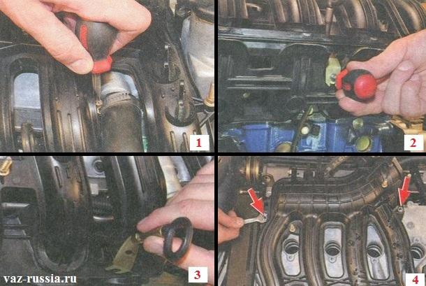 Отсоединение шланга вентиляции картерных газов, отворачивание винта крепления направляющей и её снятие совместно со щупом уровня масла