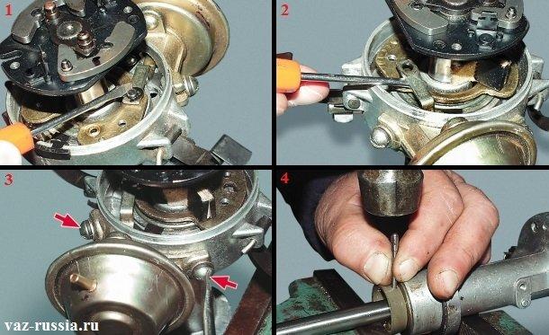 Отсоединение тяги вакуумного регулятора и снятие этого регулятора и выбивание при помощи тонкого металлического стержня, штифта крепления вала, шайбы и муфты