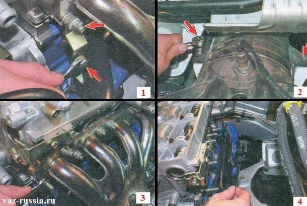 Снятие выпускного коллектора и находящуюся между ним и головкой блока прокладку