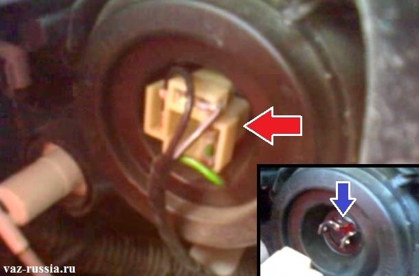 Отсоединение колодки проводов от обратной стороны галогеновой лампы