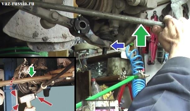 Отжимание рычага при помощи лома и тем самым выпрессовывание пальца шаровой опоры из рычага, без помощи съёмника