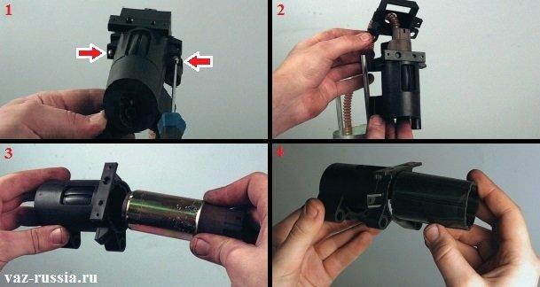 Выворачивание двух винтов крепления крышки к корпусу и её снятие, а так же снятие резиновой втулки и самого бензонасоса