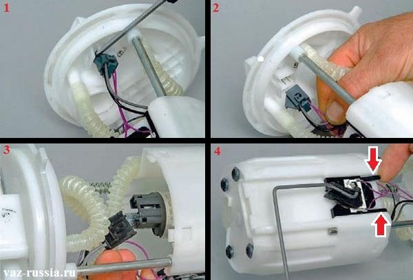Снятие датчика с топливного насоса посредством отсоединения всех колодок проводов идущих от него и посредством отгибания фиксаторов которые его крепят