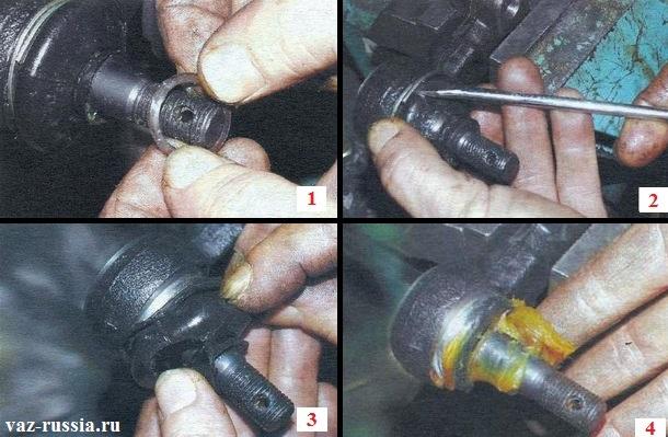 Снятие обоих колец и снятие пыльника наконечника рулевой тяги