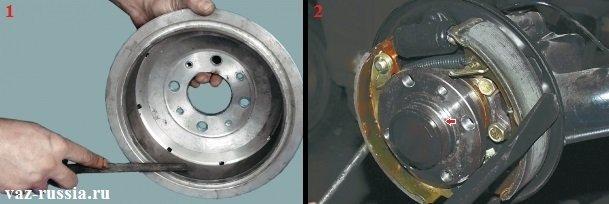 Снятие напильником буртика с рабочей поверхности тормозного барабана и сведение тормозных колодок друг к другу