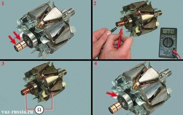 Проверка ротора на исправность при помощи мульти-метра, а так же проверка подшипника ротора на дефекты