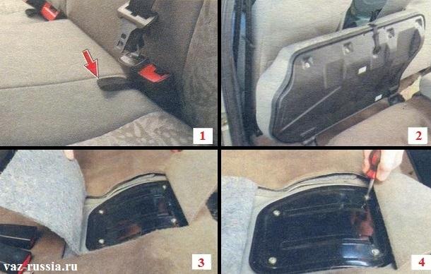 Поднимание за петли подушки заднего сиденья и выкручивание четырёх винтов крепления лючка бензонасоса