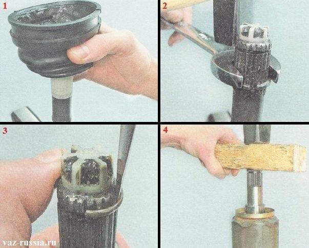 Установка пыльника на вал и обоих колец, а так же установка нового ШРУСа и кстати не забудьте изо-ленту снять, перед тем как сам ШРУС будете устанавливать