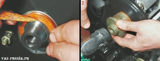 Установка нового сальника и запрессовывание его во внутреннюю часть до упора при помощи специальной оправки подходящего размера