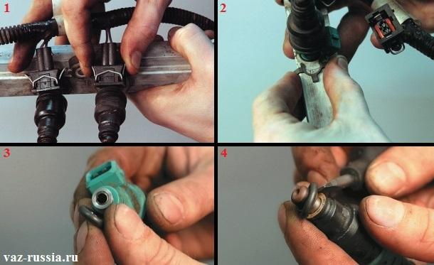 Отсоединение колодки проводов, сдвигание фиксатора крепления форсунки и её снятие, а так же проверка обоих резиновых уплотнительных колец которые на ней присутствуют