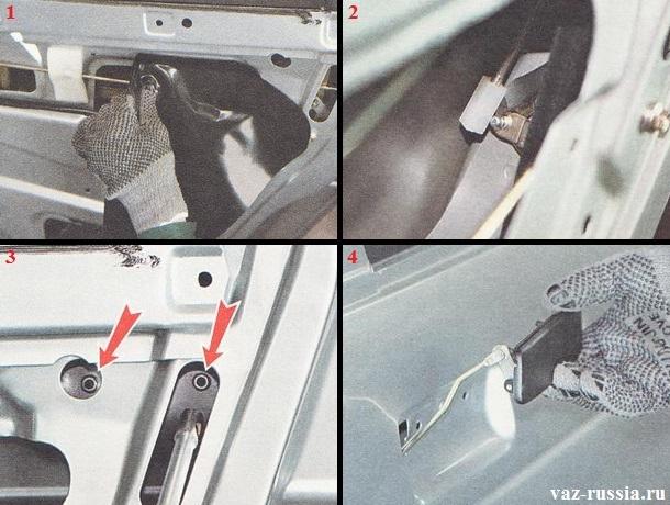 Снятие полиэтиленовой плёнки с внутренней двери автомобиля, а так же отсоединение тяги от ручки и выворачивание двух гаек её крепления и снятие её с автомобиля