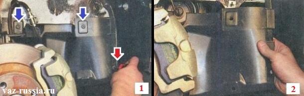 Выворачивание винтов крепления грязезащитного щитка и его снятие