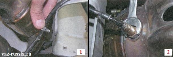 Вынимание фиксатора который фиксирует провод идущий от датчика кислорода и выворачивание самого датчика из коллектора