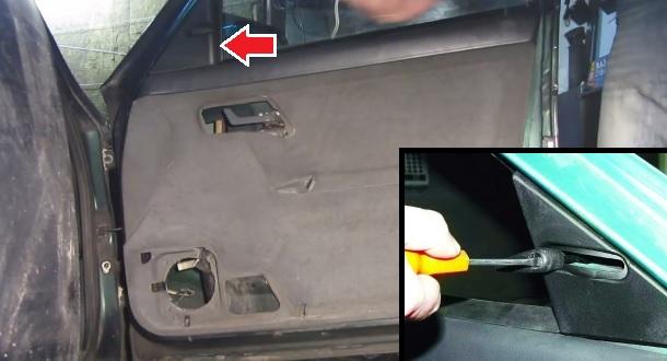 Отворачивание ручки управления зеркалом заднего вида и её снятие, а так же снятие декоративной накладки