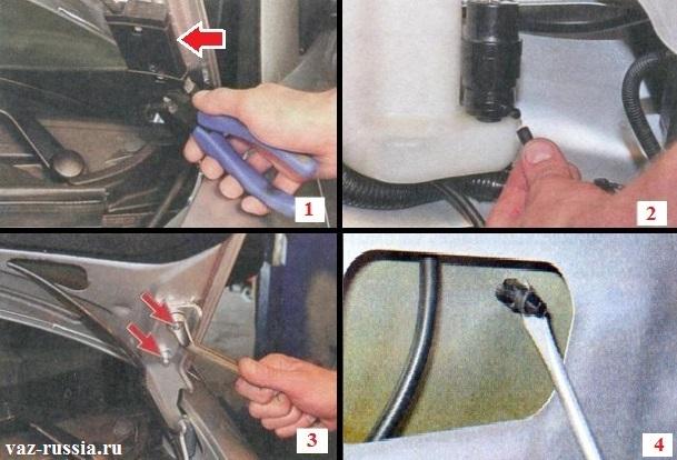 Разрезание бокорезами хомута крепления держателя шланга омывателя лобового стекла, выворачивание гаек крепления капота к петлям и вынимание форсунок омывания стекла из капота