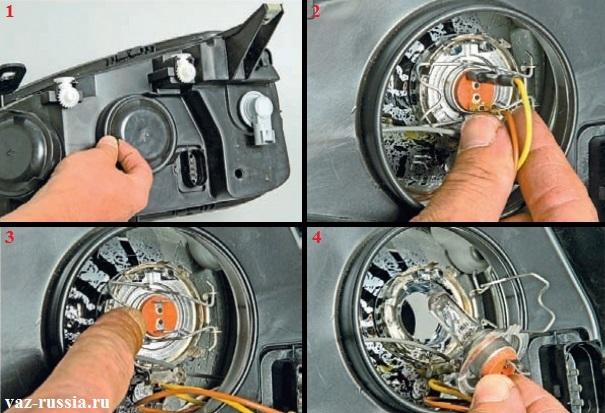Убирание резинового чехла в сторонку, отсоединение проводов от контактов лампы, отжимание фиксатора и отведение его в сторонку и вынимание лампы ближнего света из блока-фары