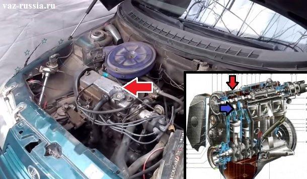 На фото можно понять в каком месте клапана в автомобиле располагаются