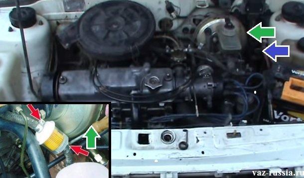 На фотографиях показано где сам фильтр тонкой очистки находится и где вакуумный усилитель тормозов располагается