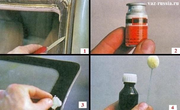 Срезание остатков старого клея и нанесение активатора и грунта на кузовной проём где стекло стоит и на само лобовое стекло