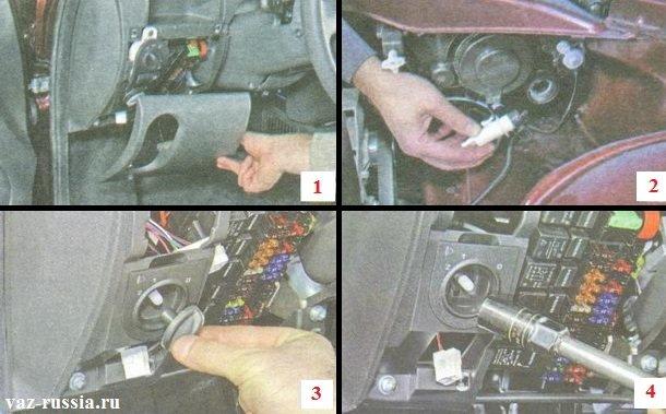 Снятие крышки монтажного блока и извлечение рабочего цилиндра корректора из блока-фары