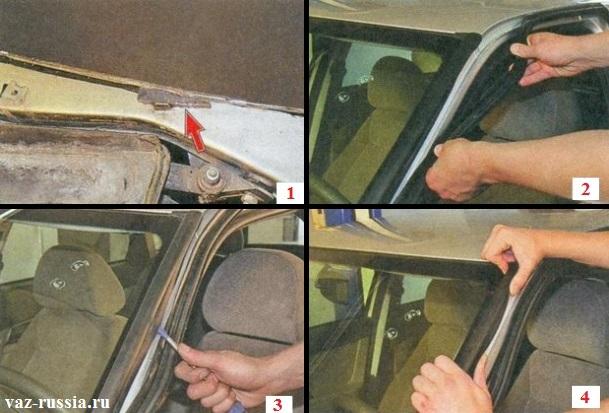 Поддевание и снятие боковых накладок