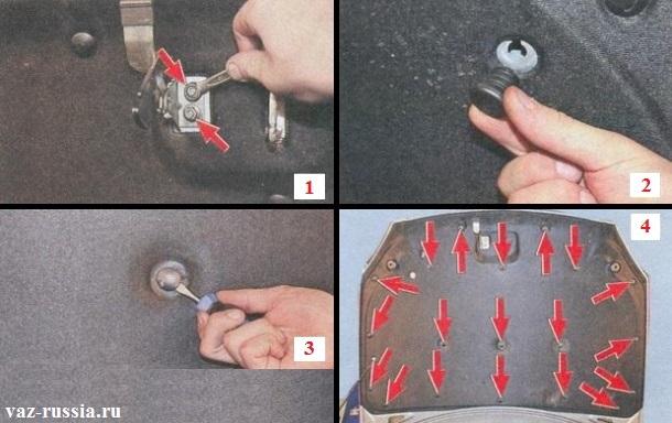 Выворачивание резиновых буферов и поддевание 19 пистонов крепящих шумоизоляционный материал к капоту автомобиля