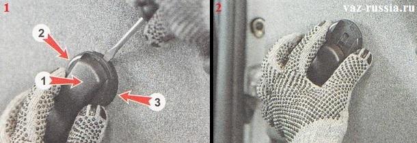 Вставление отвёртки между облицовкой и розеткой и отгибание облицовки от розетки и её снятие