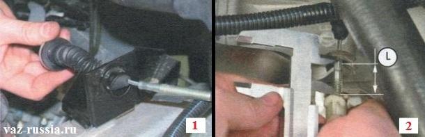 Установка троса и измерение расстояния которое латинской буквой «L» указано