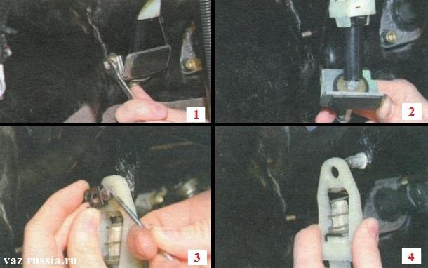 Выворачивание болта и снятие упора оболочки троса, а так же снятие корпуса механизма компенсации износа накладок ведомого диска сцепления