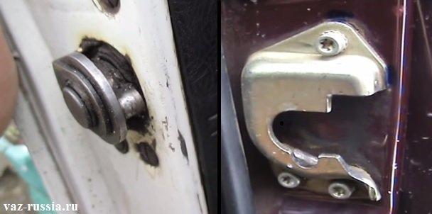 На фотографии изображён замок и фиксатор в который он входит когда дверь у автомобиля закрывается