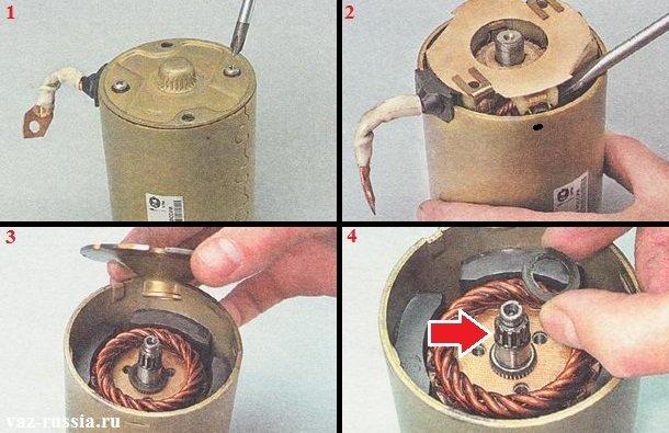 Выворачивание винтов и снятие крышки, а так же снятие за ней находящегося щёткодержателя, опоры вала и в итоге, вынимание якоря из статора и его осмотр