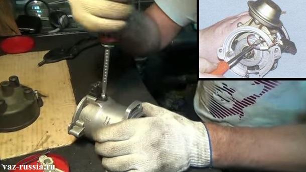 Отворачивание винта крепления разъёма датчика холла и разгибание лапок которые держат провода