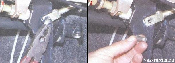 Снятие стопорной скобы и вынимание пальца крепления толкателя усилителя тормозов