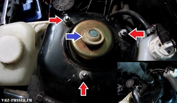 Поддевание защитного колпачка и его снятие, а так же выкручивание трёх гаек крепления стойки к стакану