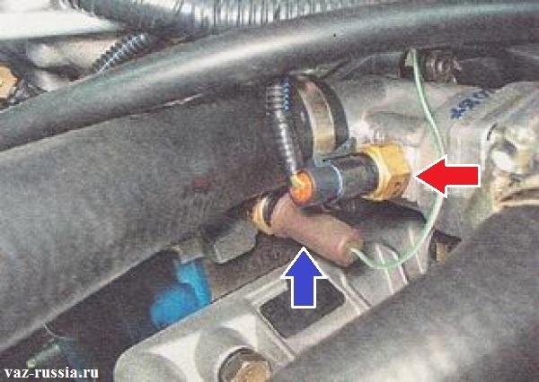 Местонахождение датчиков которые отвечают за температуры ОЖ в двигателе автомобиля