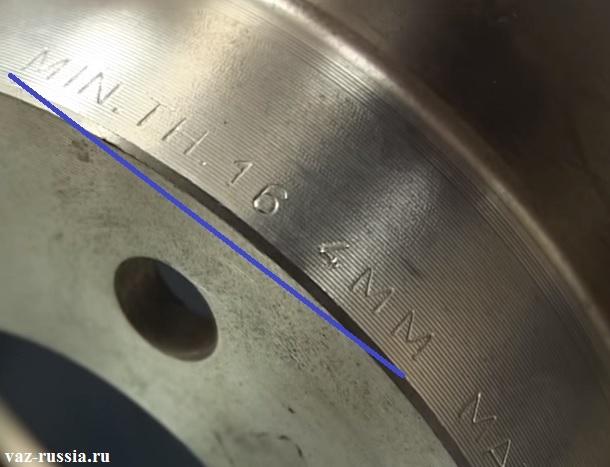 Минимально допустимая толщина указанная на диске