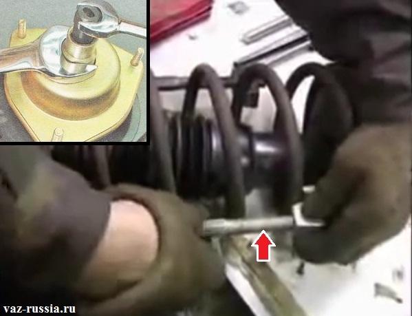 Стягивание пружины и снятие опорного подшипника с телескопической стойки