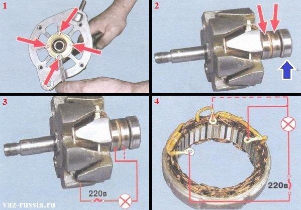 Проверка статора и ротора генератора на исправность