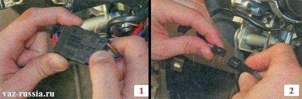 Разъединение между собой проводов иммобилайзера и проводов которые на панель приборов идут
