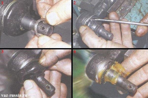 Снятие пыльника рулевого наконечника и набивание под него смазки
