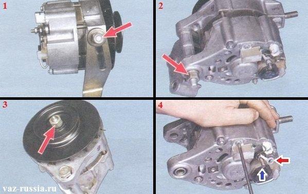 Отворачивание гайки крепления регулировочной планки и её снятие, а так же снятие шкива генератора и конденсатора