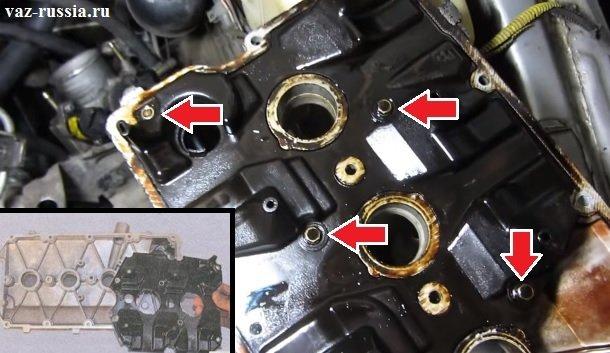 Отворачивание болтов которые крепят сепаратор к крышки и его снятие