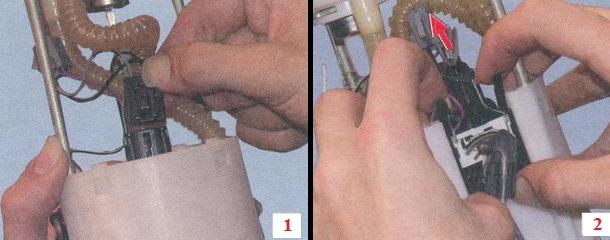 Отсоединение всех колодок проводов которые идут от ДУТ, а так же снятие датчика, посредством разжимания фиксаторов которые по бокам его крепят