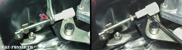 Регулировка продольной тяги и настройка тем самым заслонки первой камеры, чтобы она полностью открывалась